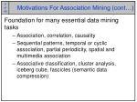 motivations for association mining cont
