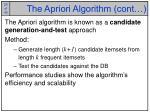 the apriori algorithm cont