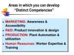 areas in which you can develop distinct competencies