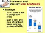 business level strategy cost leadership