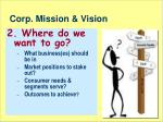 corp mission vision