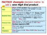 tactics example decision matrix to add a new high end product
