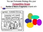 you can formulate strategy thru your competitive scope number nature of segments compete w in