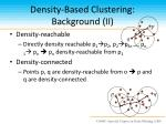 density based clustering background ii