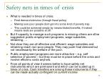 safety nets in times of crisis