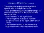 business objectives continued