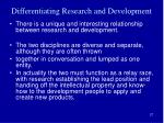differentiating research and development