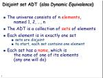 disjoint set adt also dynamic equivalence