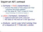 disjoint set adt continued