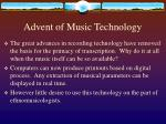 advent of music technology