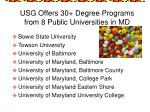 usg offers 30 degree programs from 8 public universities in md