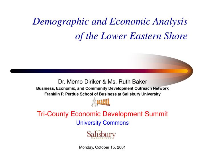 demographic and economic analysis of the lower eastern shore n.