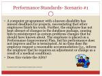 performance standards scenario 1