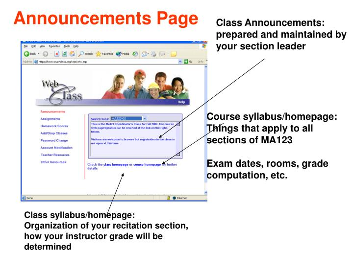 Announcements Page
