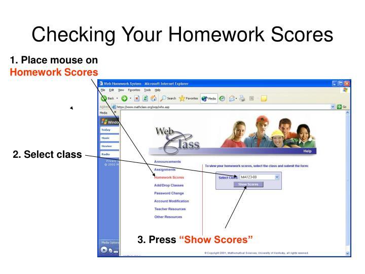 Checking Your Homework Scores