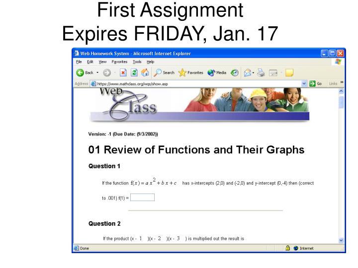 First Assignment