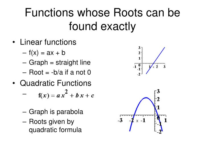 Functions whose Roots can be found exactly