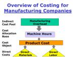 overview of costing for manufacturing companies