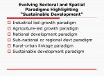 evolving sectoral and spatial paradigms highlighting sustainable development