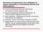 narrative of experiences as a delegate of xavier university in community service and reforestation