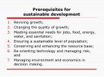 prerequisites for sustainable development