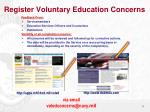 register voluntary education concerns