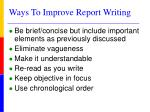 ways to improve report writing
