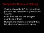 campbell s theory of valuing