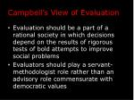 campbell s view of evaluation