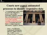 courts now expect automated processes to identify responsive data