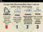 except with electronic data there s also an earlier step preservation