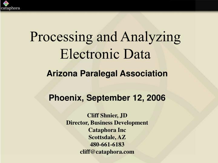 processing and analyzing electronic data n.