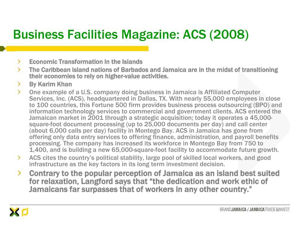 Business Facilities Magazine: ACS (2008)