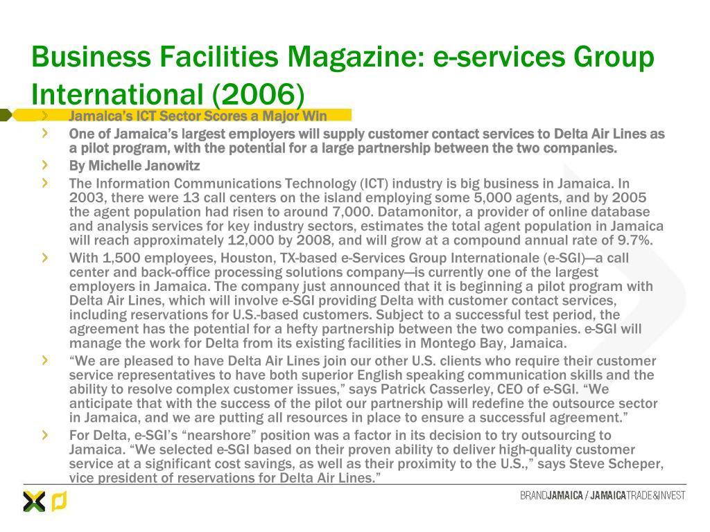 Business Facilities Magazine: e-services Group International (2006)
