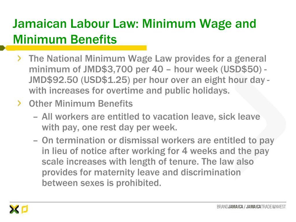 Jamaican Labour Law: Minimum Wage and Minimum Benefits
