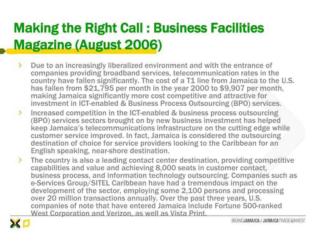 Making the Right Call : Business Facilities Magazine (August 2006)