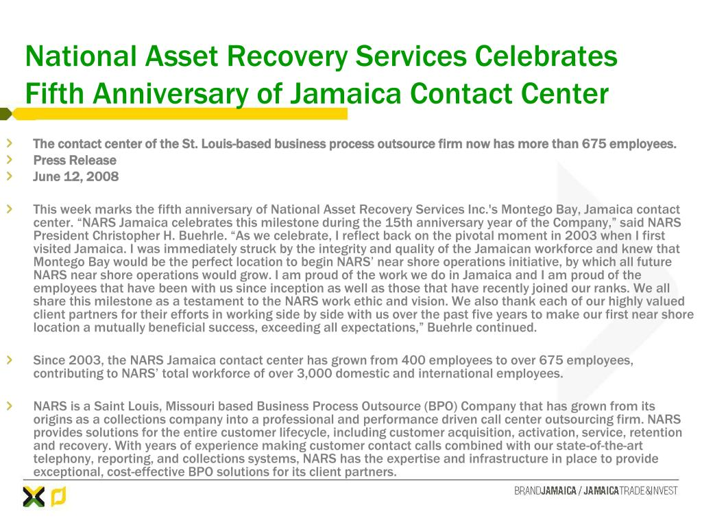 National Asset Recovery Services Celebrates Fifth Anniversary of Jamaica Contact Center