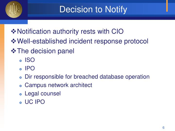 Decision to Notify