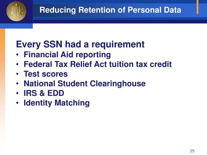 Reducing Retention of Personal Data