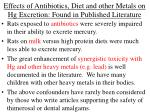 effects of antibiotics diet and other metals on hg excretion found in published literature
