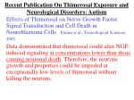 recent publication on thimerosal exposure and neurological disorders autism