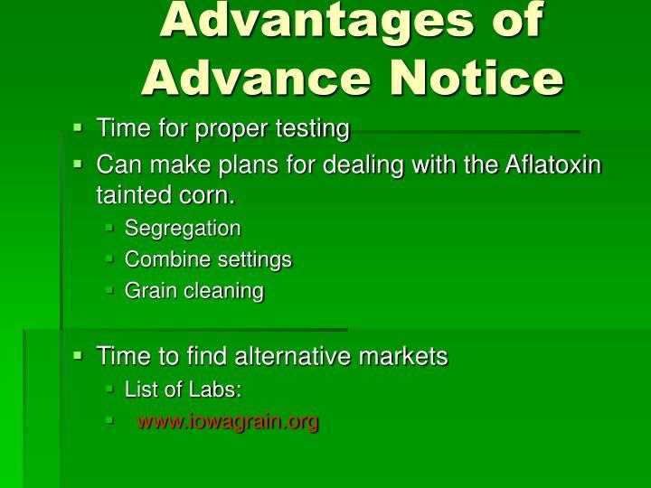 Advantages of Advance Notice