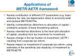 applications of metr aetr framework