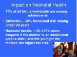 impact on neonatal health