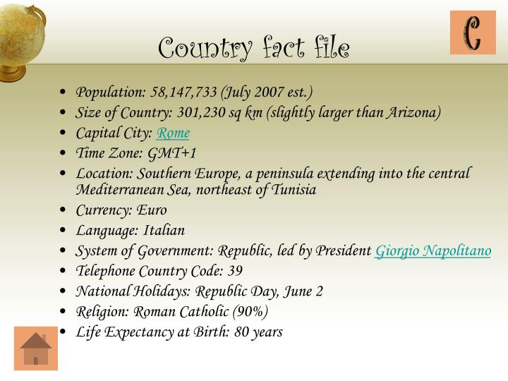 Country fact file