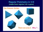 regular polyhedra in 3 d made from regular 2 d n gons