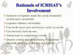 rationale of icrisat s involvement