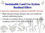 sustainable land use system residual effect