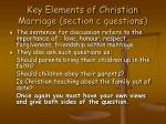 key elements of christian marriage section c questions