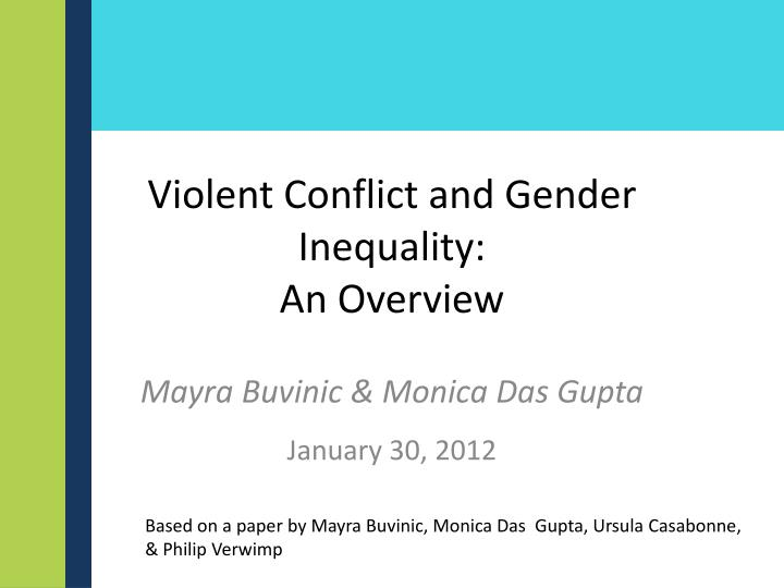 violent conflict and gender inequality an overview n.